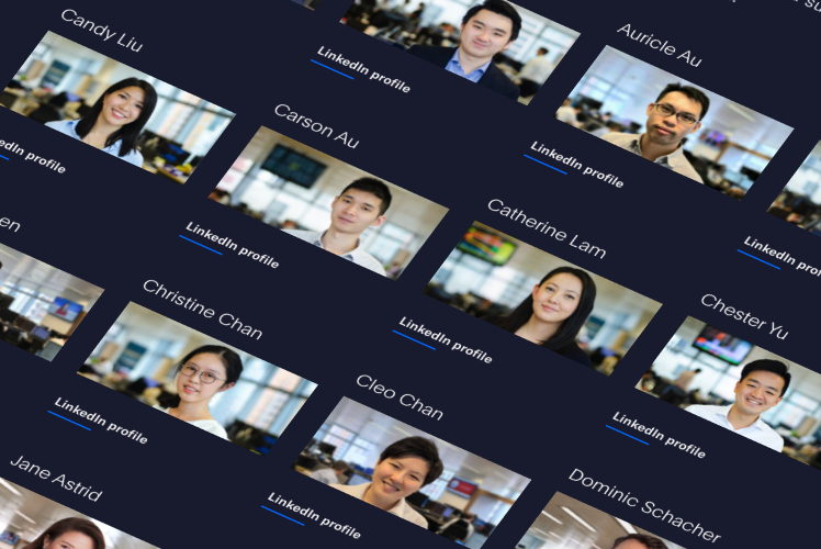 isometric view of many staff profile pictures